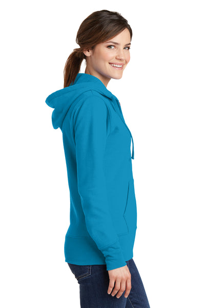 Port & Company LPC78ZH Womens Core Fleece Full Zip Hooded Sweatshirt Hoodie Neon Blue Side