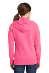 Port & Company LPC78ZH Womens Core Fleece Full Zip Hooded Sweatshirt Hoodie Neon Pink Back