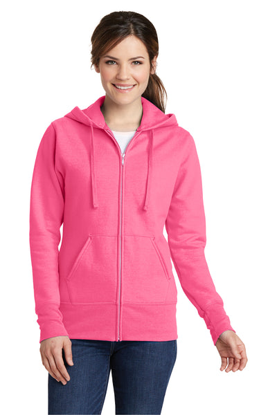 Port & Company LPC78ZH Womens Core Fleece Full Zip Hooded Sweatshirt Hoodie Neon Pink Front