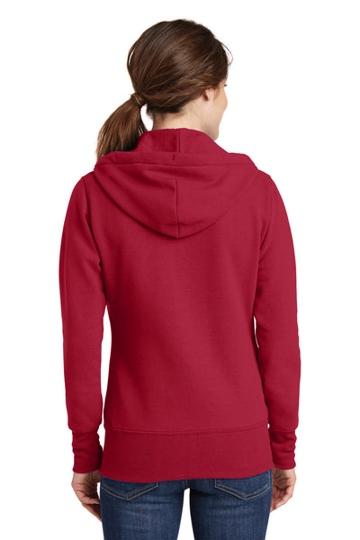 Port & Company LPC78ZH Womens Core Fleece Full Zip Hooded Sweatshirt Hoodie Red Back