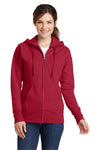 Port & Company LPC78ZH Womens Core Fleece Full Zip Hooded Sweatshirt Hoodie Red Front