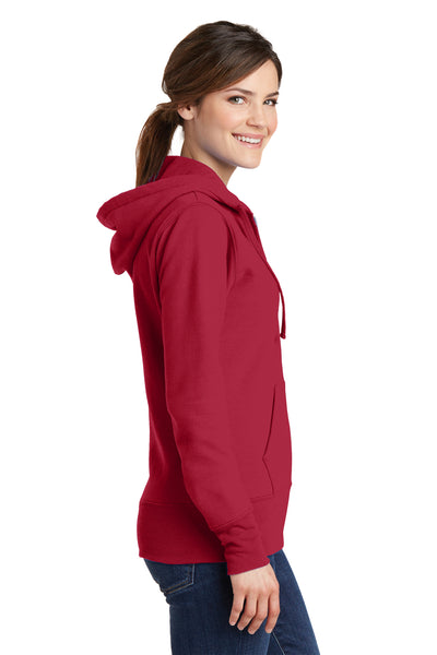 Port & Company LPC78ZH Womens Core Fleece Full Zip Hooded Sweatshirt Hoodie Red Side