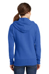 Port & Company LPC78ZH Womens Core Fleece Full Zip Hooded Sweatshirt Hoodie Royal Blue Back