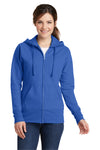 Port & Company LPC78ZH Womens Core Fleece Full Zip Hooded Sweatshirt Hoodie Royal Blue Front