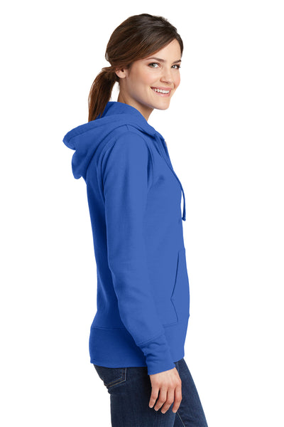 Port & Company LPC78ZH Womens Core Fleece Full Zip Hooded Sweatshirt Hoodie Royal Blue Side
