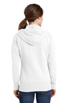 Port & Company LPC78ZH Womens Core Fleece Full Zip Hooded Sweatshirt Hoodie White Back