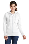 Port & Company LPC78ZH Womens Core Fleece Full Zip Hooded Sweatshirt Hoodie White Front