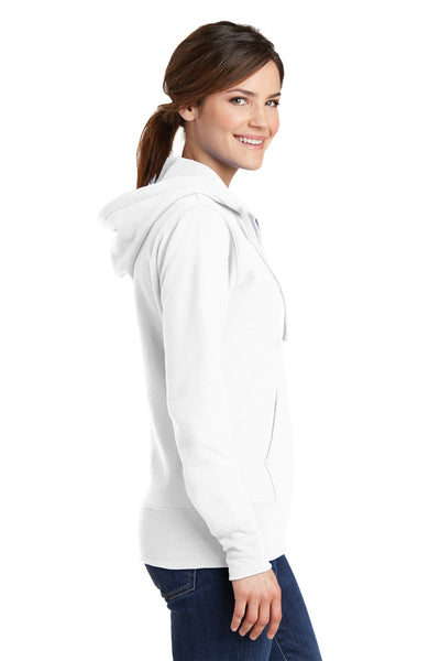 Port & Company LPC78ZH Womens Core Fleece Full Zip Hooded Sweatshirt Hoodie White Side