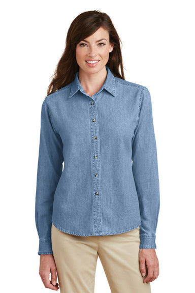 Port & Company LSP10 Womens Denim Long Sleeve Button Down Shirt Faded Blue Front