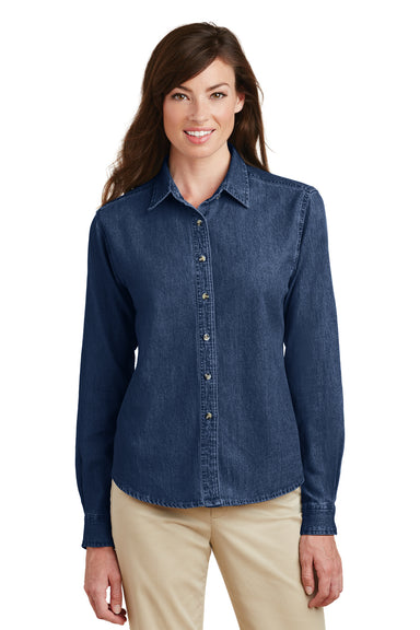 Port & Company LSP10 Womens Denim Long Sleeve Button Down Shirt Ink Blue Front