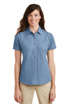 Port & Company LSP11 Womens Denim Short Sleeve Button Down Shirt Faded Blue Front