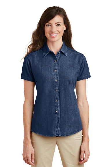 Port & Company LSP11 Womens Denim Short Sleeve Button Down Shirt Ink Blue Front