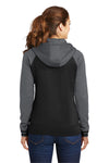 Sport-Tek LST236 Womens Sport-Wick Moisture Wicking Fleece Hooded Sweatshirt Hoodie Black/Grey Back