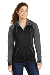 Sport-Tek LST236 Womens Sport-Wick Moisture Wicking Fleece Hooded Sweatshirt Hoodie Black/Grey Front