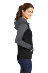 Sport-Tek LST236 Womens Sport-Wick Moisture Wicking Fleece Hooded Sweatshirt Hoodie Black/Grey Side