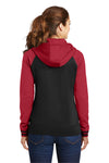 Sport-Tek LST236 Womens Sport-Wick Moisture Wicking Fleece Hooded Sweatshirt Hoodie Black/Red Back