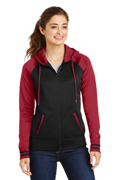 Sport-Tek LST236 Womens Sport-Wick Moisture Wicking Fleece Hooded Sweatshirt Hoodie Black/Red Front