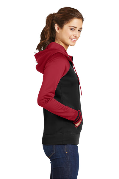 Sport-Tek LST236 Womens Sport-Wick Moisture Wicking Fleece Hooded Sweatshirt Hoodie Black/Red Side