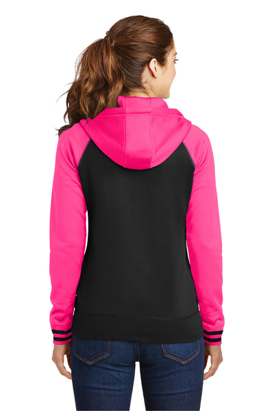 Sport-Tek LST236 Womens Sport-Wick Moisture Wicking Fleece Hooded Sweatshirt Hoodie Black/Neon Pink Back