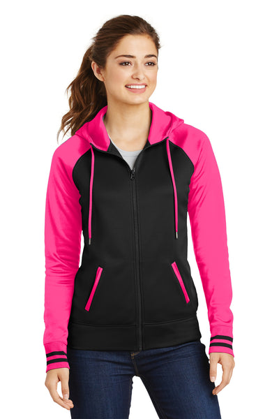 Sport-Tek LST236 Womens Sport-Wick Moisture Wicking Fleece Hooded Sweatshirt Hoodie Black/Neon Pink Front