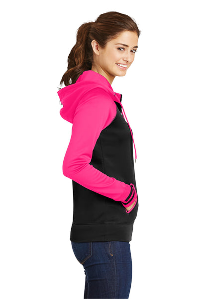 Sport-Tek LST236 Womens Sport-Wick Moisture Wicking Fleece Hooded Sweatshirt Hoodie Black/Neon Pink Side