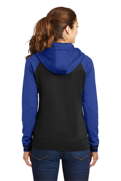 Sport-Tek LST236 Womens Sport-Wick Moisture Wicking Fleece Hooded Sweatshirt Hoodie Black/Royal Blue Back