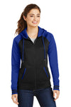 Sport-Tek LST236 Womens Sport-Wick Moisture Wicking Fleece Hooded Sweatshirt Hoodie Black/Royal Blue Front