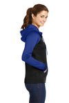 Sport-Tek LST236 Womens Sport-Wick Moisture Wicking Fleece Hooded Sweatshirt Hoodie Black/Royal Blue Side