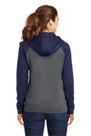 Sport-Tek LST236 Womens Sport-Wick Moisture Wicking Fleece Hooded Sweatshirt Hoodie Dark Grey/Navy Blue Back