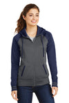 Sport-Tek LST236 Womens Sport-Wick Moisture Wicking Fleece Hooded Sweatshirt Hoodie Dark Grey/Navy Blue Front