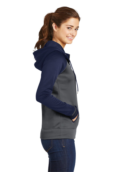 Sport-Tek LST236 Womens Sport-Wick Moisture Wicking Fleece Hooded Sweatshirt Hoodie Dark Grey/Navy Blue Side