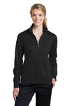 Sport-Tek LST241 Womens Sport-Wick Moisture Wicking Fleece Full Zip Sweatshirt Black Front