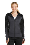 Sport-Tek LST245 Womens Moisture Wicking Full Zip Tech Fleece Hooded Jacket Black/Grey Front