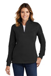 Sport-Tek LST253 Womens Fleece 1/4 Zip Sweatshirt Black Front