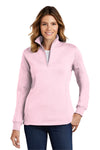 Sport-Tek LST253 Womens Fleece 1/4 Zip Sweatshirt Pink Front