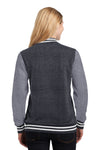 Sport-Tek LST270 Womens Snap Down Fleece Letterman Jacket Graphite Grey Back