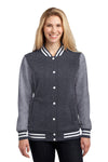 Sport-Tek LST270 Womens Snap Down Fleece Letterman Jacket Graphite Grey Front