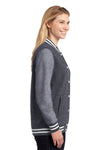 Sport-Tek LST270 Womens Snap Down Fleece Letterman Jacket Graphite Grey Side