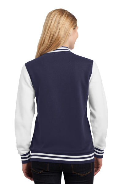 Sport-Tek LST270 Womens Snap Down Fleece Letterman Jacket Navy Blue Back
