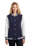Sport-Tek LST270 Womens Snap Down Fleece Letterman Jacket Navy Blue Front