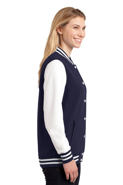 Sport-Tek LST270 Womens Snap Down Fleece Letterman Jacket Navy Blue Side