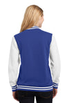 Sport-Tek LST270 Womens Snap Down Fleece Letterman Jacket Royal Blue Back