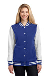 Sport-Tek LST270 Womens Snap Down Fleece Letterman Jacket Royal Blue Front