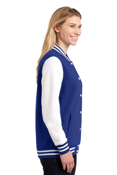 Sport-Tek LST270 Womens Snap Down Fleece Letterman Jacket Royal Blue Side