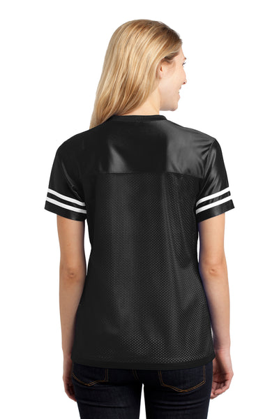 Sport-Tek LST307 Womens Short Sleeve V-Neck T-Shirt Black Back