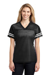 Sport-Tek LST307 Womens Short Sleeve V-Neck T-Shirt Black Front