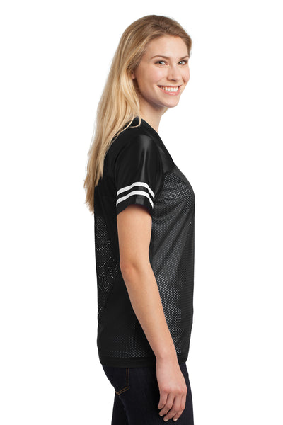 Sport-Tek LST307 Womens Short Sleeve V-Neck T-Shirt Black Side