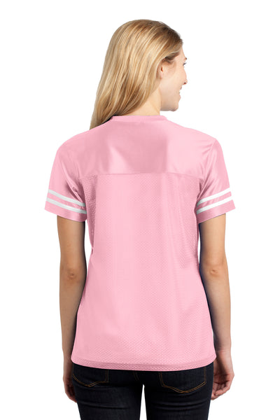 Sport-Tek LST307 Womens Short Sleeve V-Neck T-Shirt Pink Back