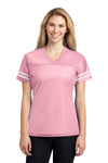 Sport-Tek LST307 Womens Short Sleeve V-Neck T-Shirt Pink Front