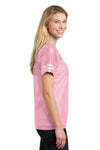 Sport-Tek LST307 Womens Short Sleeve V-Neck T-Shirt Pink Side